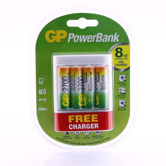 GP PowerBank U411 incl. 4 x 2700 mAh oplaadbare batterijen