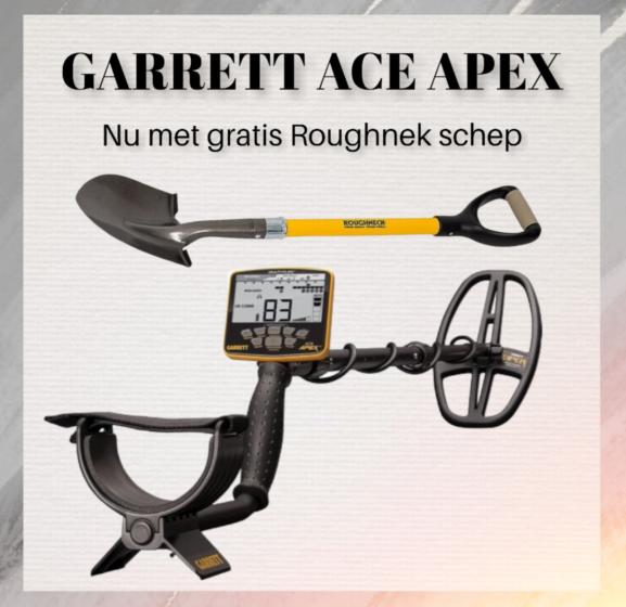 Garrett Ace Apex met draadloze hoofdtelefoon en schep